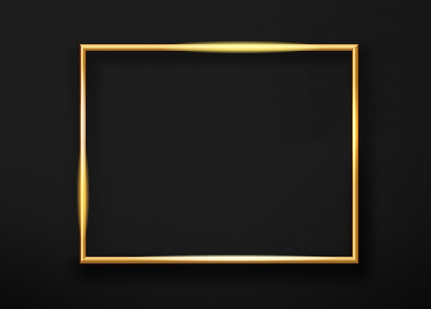 Realistic gold horizontal shining photoframe on a black wall. vector illustration Premium Vector