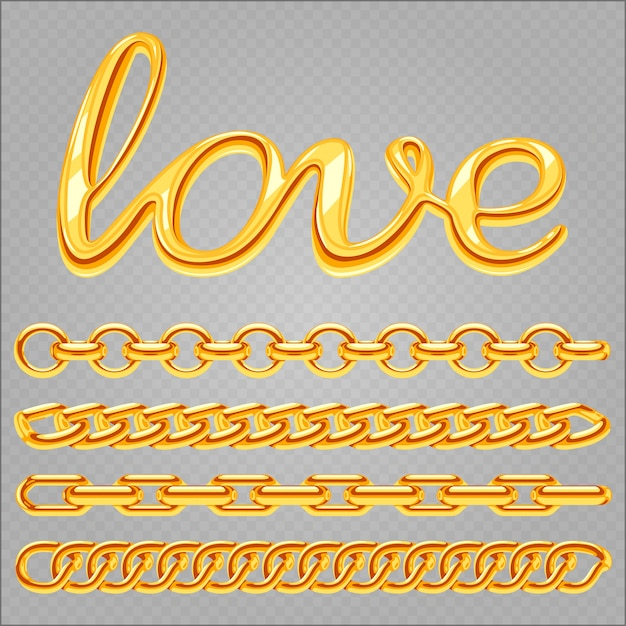 Realistic gold jewelry chain set and love lettering Premium Vector