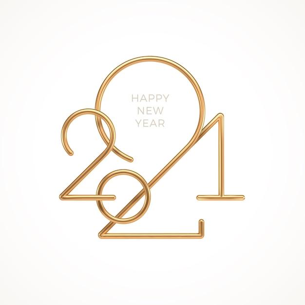 Реалистичный золотой металлический логотип года на белом фоне Premium векторы
