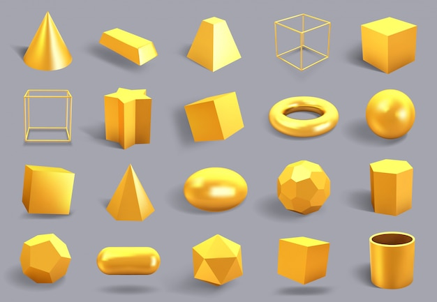 Realistic  gold shapes. golden metal geometric shape, shiny yellow gradient cube, sphere and prism figures  illustration icons set. yellow gold realistic, polygonal form 3d, square and prism Premium Vector