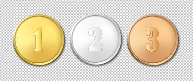 Realistic gold, silver and bronze award medals icon set isolated on transparent background. Premium Vector