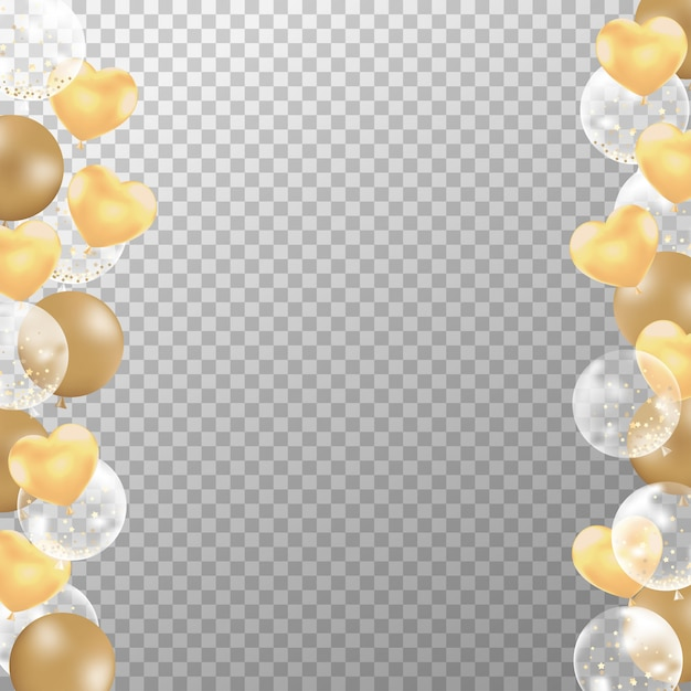Realistic golden balloons frame for birthday card. Premium Vector