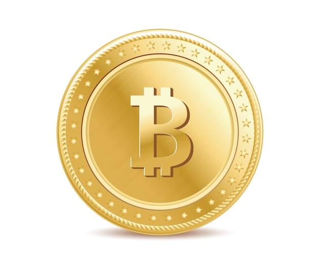 Realistic golden bitcoin Premium Vector