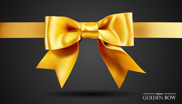 Realistic golden bow with gold, element for decoration gifts, greetings, holidays. Premium Vector