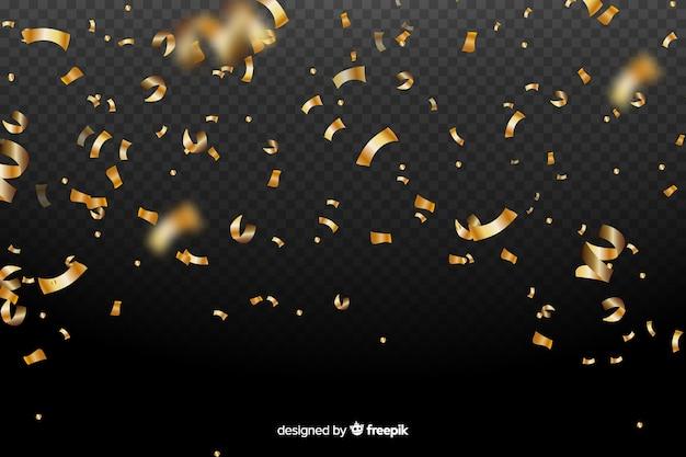 Realistic golden confetti background Premium Vector