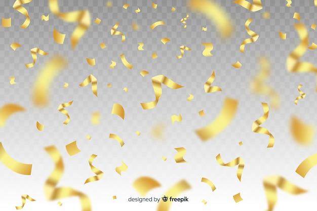 Realistic golden confetti background Free Vector