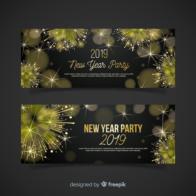 Realistic Golden Fireworks New Year Party Banner Template Vector