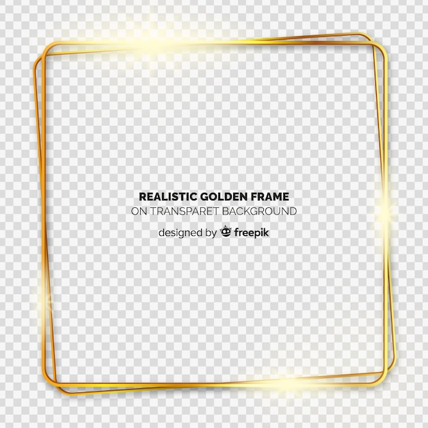 Realistic golden frame on transparent background Free Vector