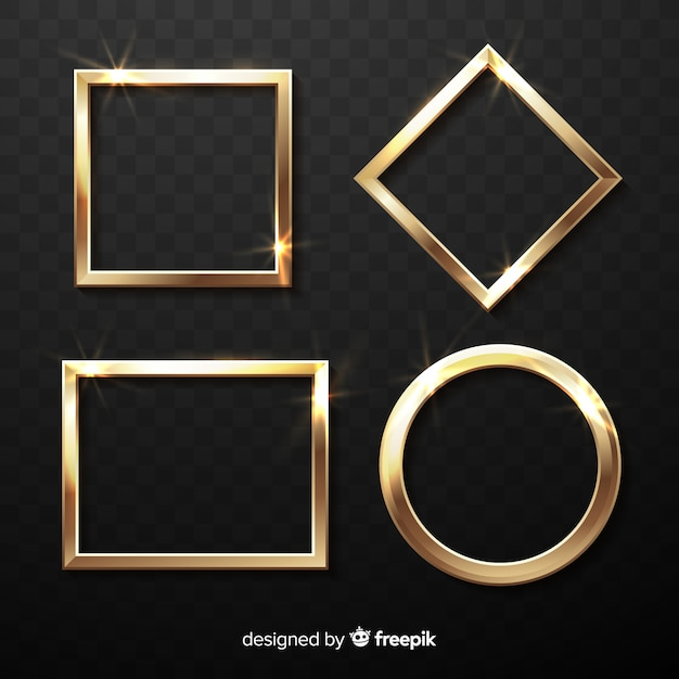Realistic golden frames set Free Vector