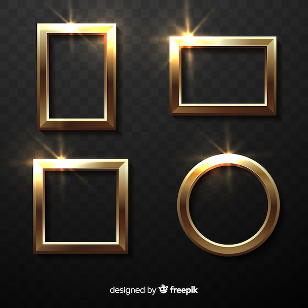 Realistic golden frames set Free Vector