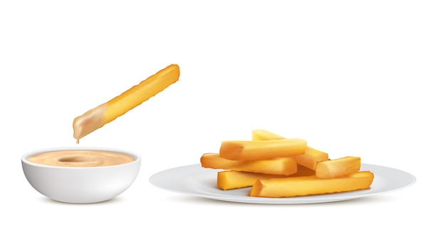 Realistic golden french fries, heap of fried potato sticks in white plate and bowl with sauce Free Vector