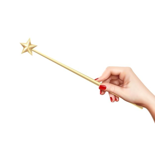 Реалистичная золотая волшебная палочка со звездой в женской руке на белом фоне векторная иллюстрация Бесплатные векторы