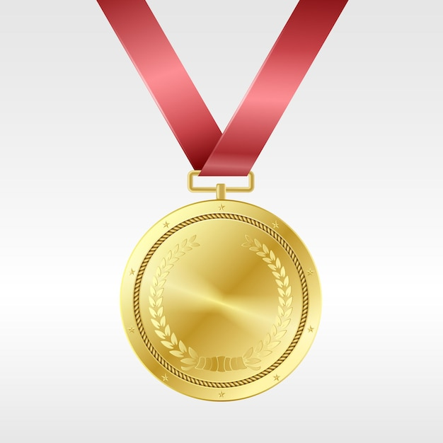 Realistic golden medal on red ribbon: award for first place in competition. gold prize trophy Premium Vector
