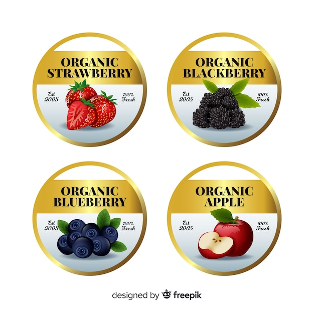 Realistic golden organic food label pack Free Vector