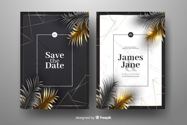 Realistic golden palm leaves wedding invitation template Free Vector