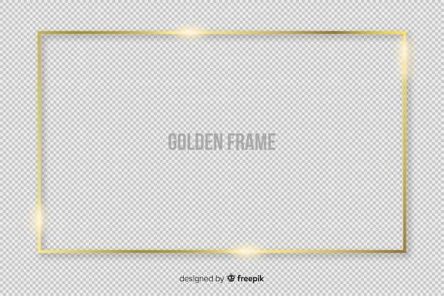 Realistic golden rectangle frame Free Vector