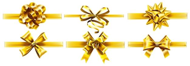 Реалистичные золотые ленты с бантами. праздничный подарок золотой ленточный бант, реалистичный набор подарков. Premium векторы