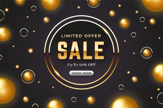 Realistic golden sales banner Free Vector