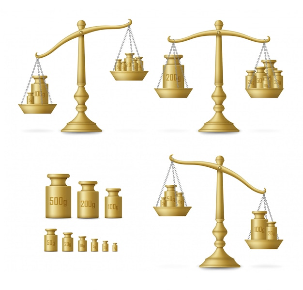 Реалистичные золотые весы с различными весами. иллюстрации. Premium векторы