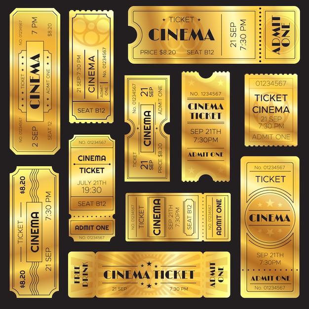 Realistic golden show ticket Premium Vector