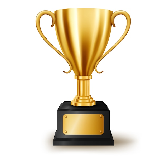 Realistic golden trophy isolated with text space Premium Vector