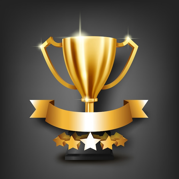 Realistic golden trophy with place for text on gold ribbon Premium Vector