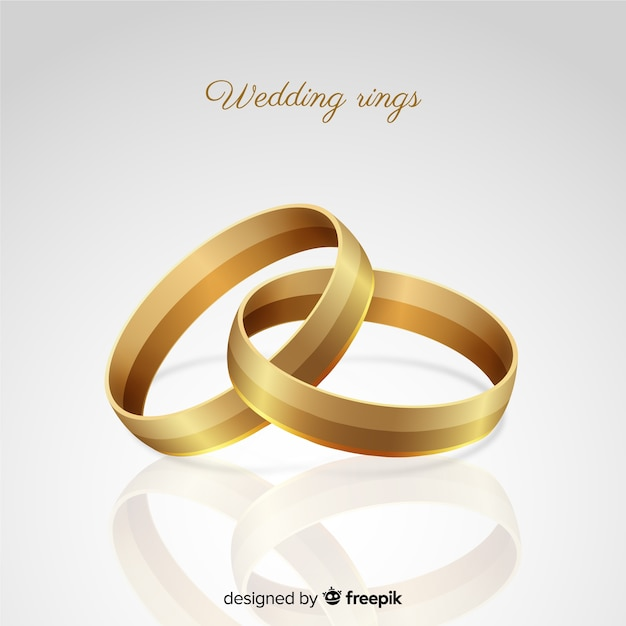 Realistic Golden Wedding Rings Background Vector Free Download