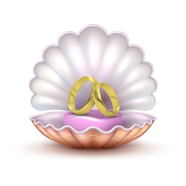 Realistic golden wedding rings in seashell isolated. to marry vector concept Premium Vector