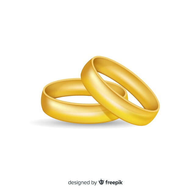 Realistic golden wedding rings Free Vector
