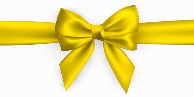 リアルな金色、黄色の弓。装飾ギフト、挨拶、休日の要素。 Premiumベクター