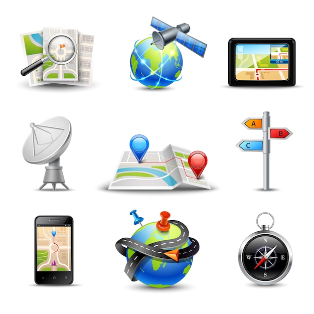 Realistic gps route search and navigation icons set Free Vector