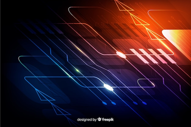 Realistic gradient circuit board backgrond Free Vector