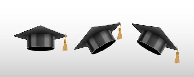 Реалистичный выпускник университета или колледжа черная шапка Premium векторы