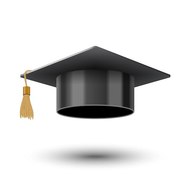Реалистичная черная кепка выпускника университета или колледжа Premium векторы