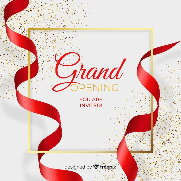 Realistic grand opening background with confetti Vector | Free Download