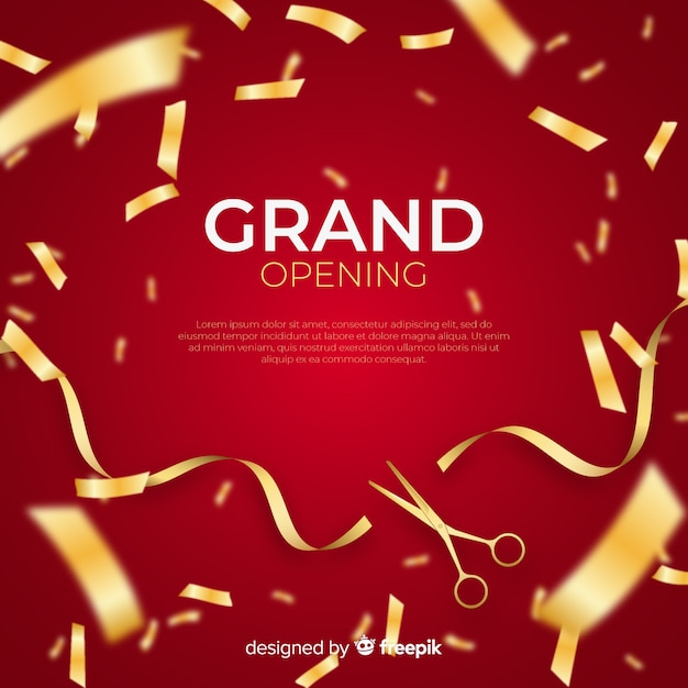 Realistic grand opening background with confetti Free Vector