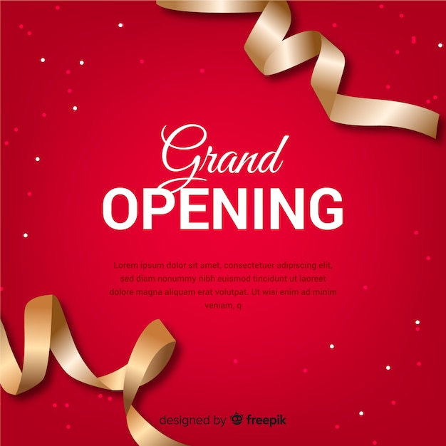 Realistic grand opening background with golden ribbon Free Vector