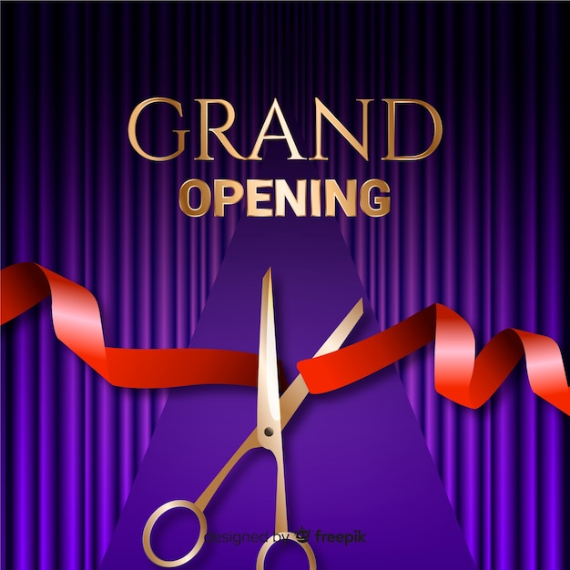 Realistic grand opening background with scissors Free Vector