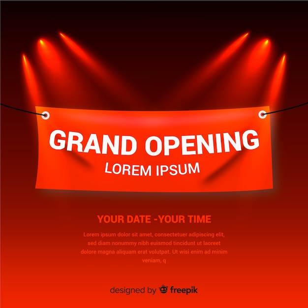 Realistic grand opening background with textile banner Free Vector