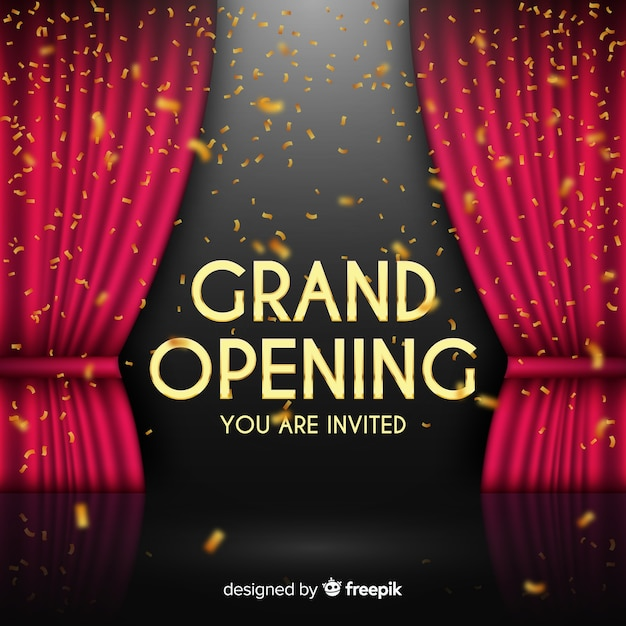 Realistic grand opening background Free Vector