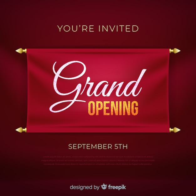 Realistic grand opening banner template Free Vector