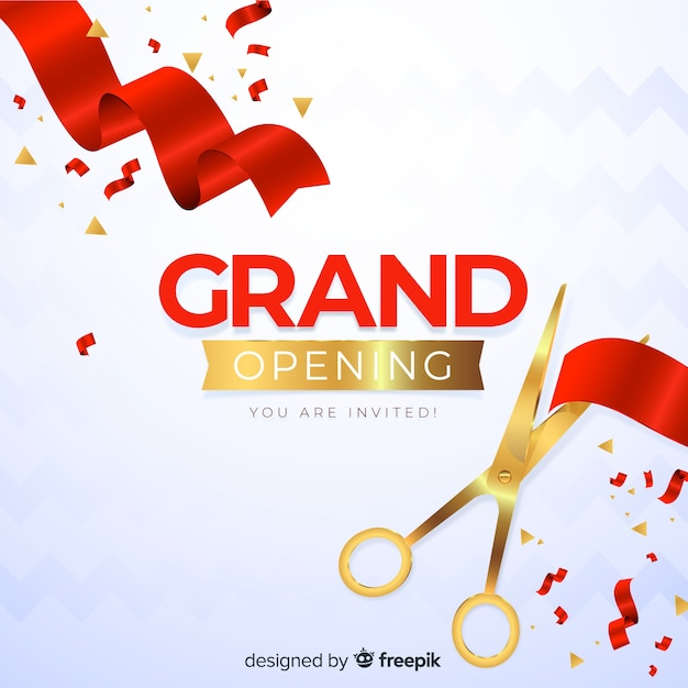 Realistic grand opening decorative background Free Vector
