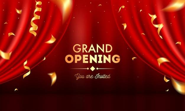 Realistic grand opening invitation with red curtains and golden confetti. Premium Vector