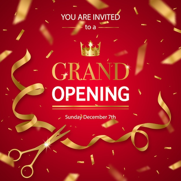 Realistic grand opening invitation Free Vector