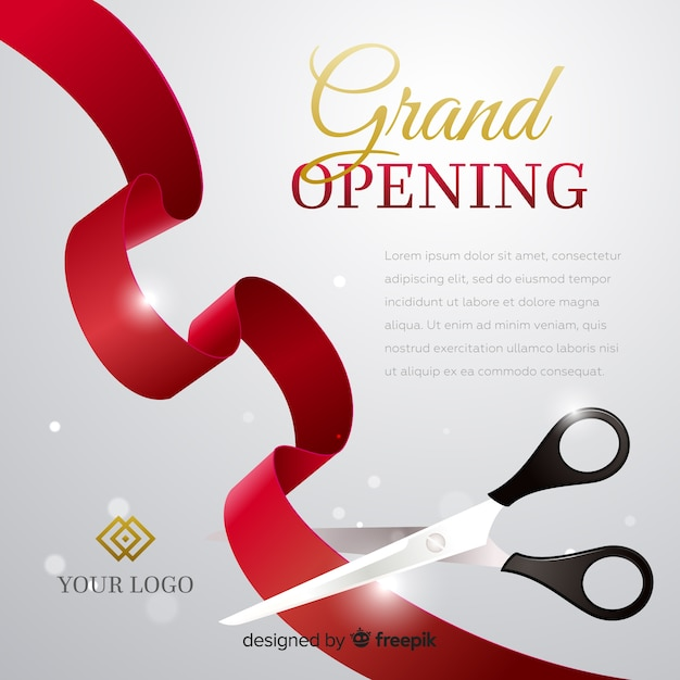 Realistic grand opening poster with scissors Free Vector