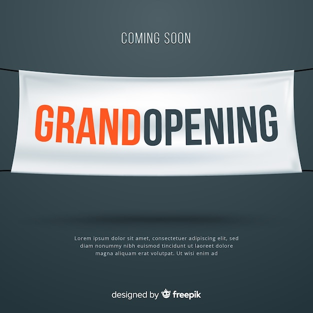 Realistic grand opening with textile banner Free Vector