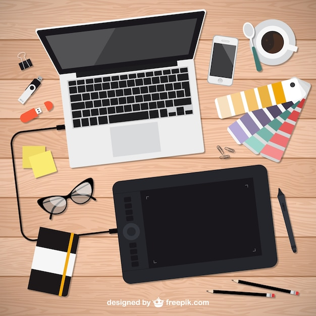 realistic graphic designer tools vector free download