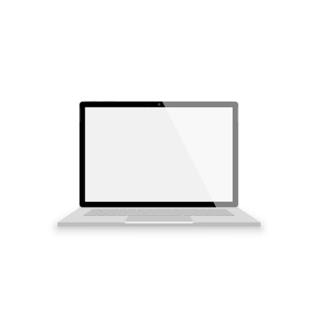 Realistic gray laptop front view.  illustrations  on white background. laptop with empty scrin Premium Vector