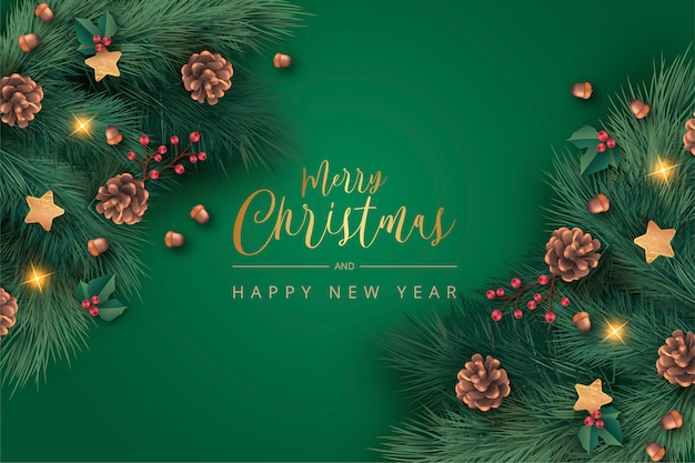 Realistic green christmas background Free Vector
