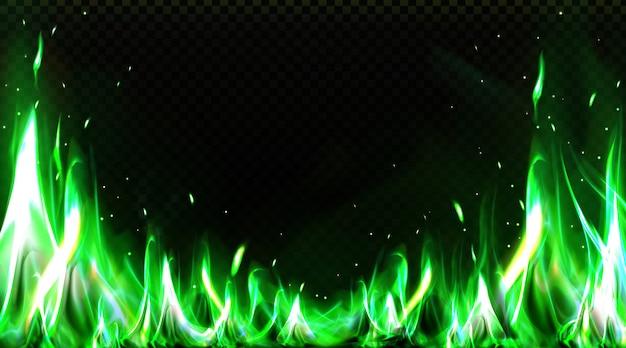 現実的な緑の火の境界線、燃える炎のクリップアート 無料ベクター